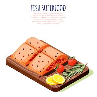 Concept de design isométrique de superaliments de poisson avec filet de saumon cru frais sur une illustration vectorielle de planche à découper en bois