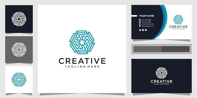 Concept de design de logo de communauté lettre p avec carte de visite