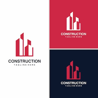 Concept de design de logo de construction, architectural, bâtiment