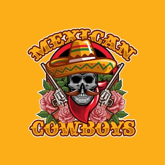 Concept De Design De Logo Crâne Cowboys Mexicains Vecteur Premium