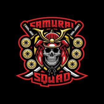 Concept de design de logo crâne samouraï