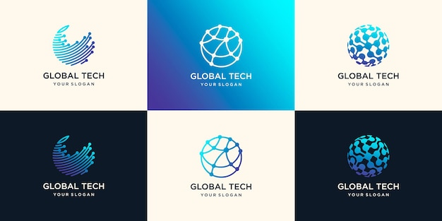 Concept de design de logo globe technologie abstraite