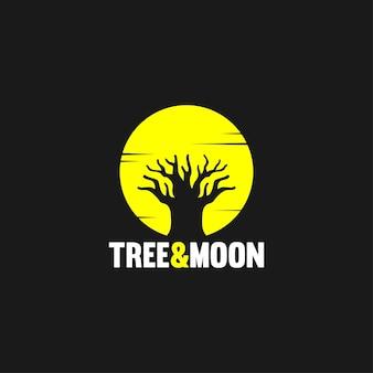 Concept de design de logo illustratif avec arbre et lune