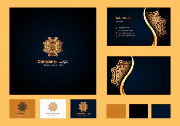 Concept de design de logo, mandala floral circulaire de luxe, conception de cartes de visite de luxe avec logo ornemental