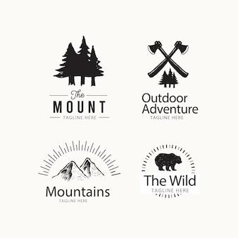 Concept de design de logo en plein air aventure