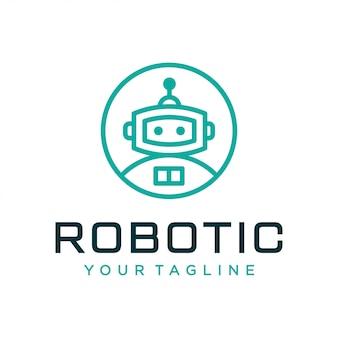 Concept de design de logo robot. logo robotique universel.