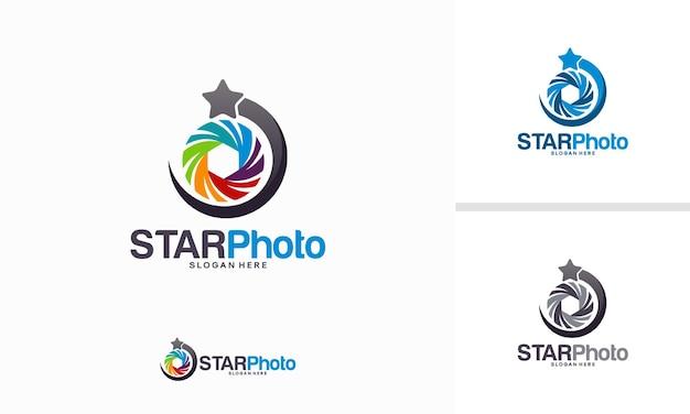 Concept de design de logo star photography, vecteur de modèle de logo lens star