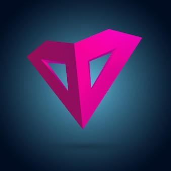 Concept de design de masque de coeur rose avec une lumière et une ombre réalistes emblème drôle sur un dégradé sombre