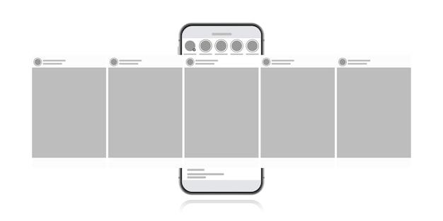 Concept de design de médias sociaux sur fond blanc. smartphone avec poste d'interface carrousel sur réseau social. illustration de style plat moderne.