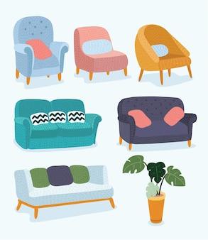 Concept de design de meubles de salon serti d'éléments intérieurs de maison modernes isolés vector illustra...