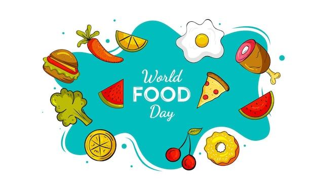 Concept de design minimal de la journée mondiale de l'alimentation doodle art vector illustration vecteur premium