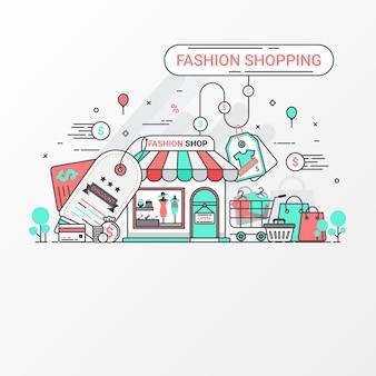 Concept de design de mode shopping bannière