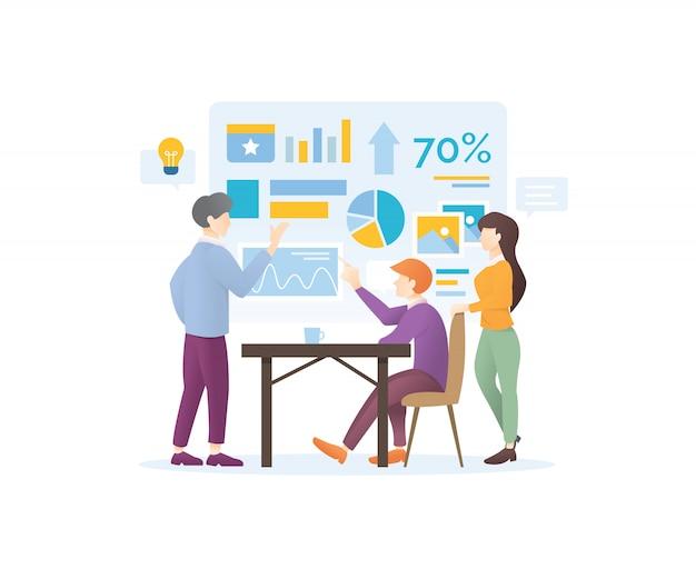 Concept de design moderne de la stratégie marketing numérique