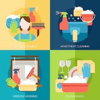 Concept de design de nettoyage avec bureau appartement fenêtres plats éléments plats définis