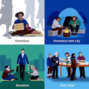 Concept de design des personnes sans abri