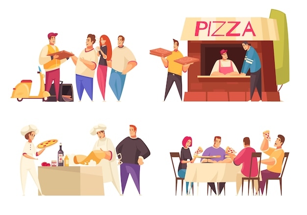 Concept de design de pizza avec livraison de pizza magasin de pizza et famille à la description de table de dîner illustration vectorielle