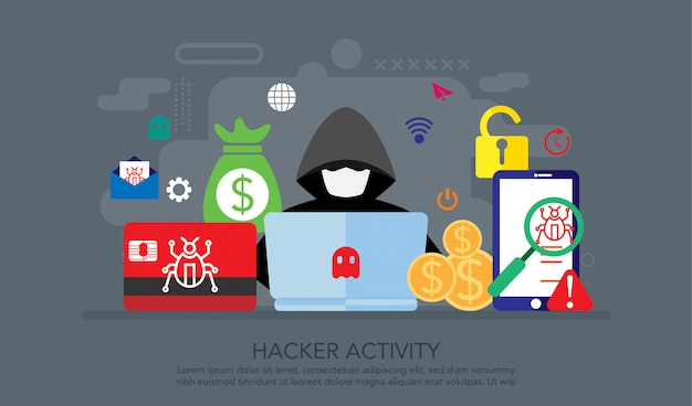 Concept de design plat d'activité hacker, fond de concept de page de destination