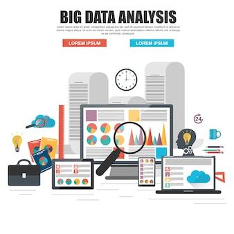 Concept de design plat de l'analyse de big data d'entreprise, analytique globale, recherche financière re