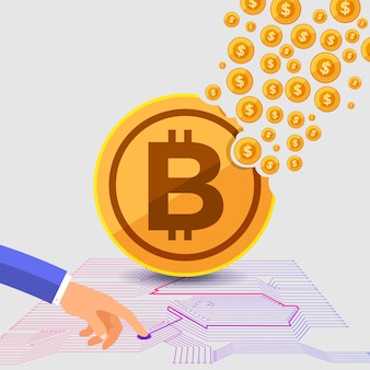 Concept de design plat bitcoin crypto-monnaie