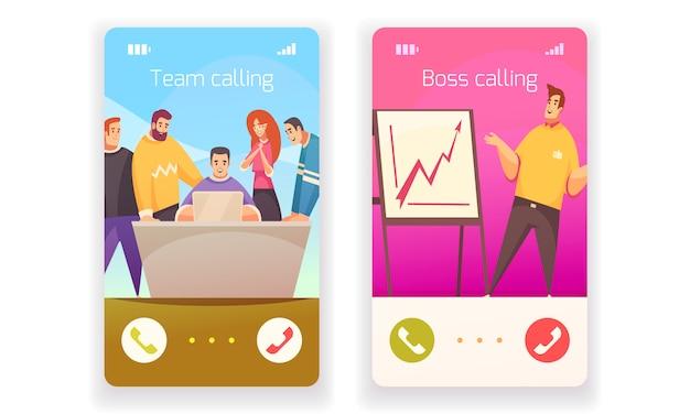 Concept de design plat de coworking avec deux smartphones symbolisant l'appel au patron ou à l'illustration isolée de l'équipe créative