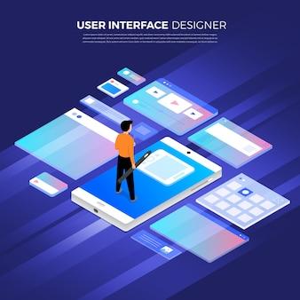 Concept de design plat design d'interface utilisateur isométrique