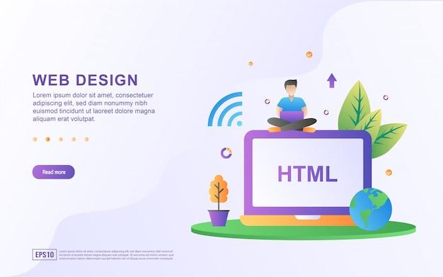 Concept de design plat de développement de sites web et d'applications.
