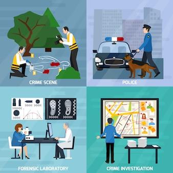 Concept de design plat d'enquête de criminalité