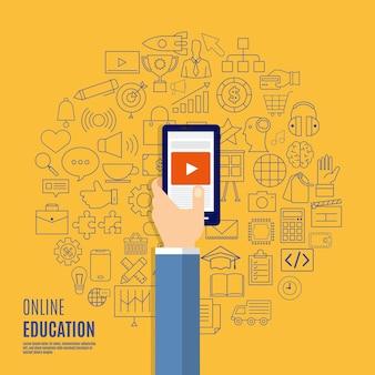 Concept de design plat sur les formations en ligne présentes avec des icônes et des éléments d'apprentissage en ligne