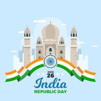 Concept de design plat jour de la république indienne