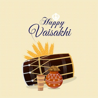 Concept de design plat joyeux vaisakhi célébration