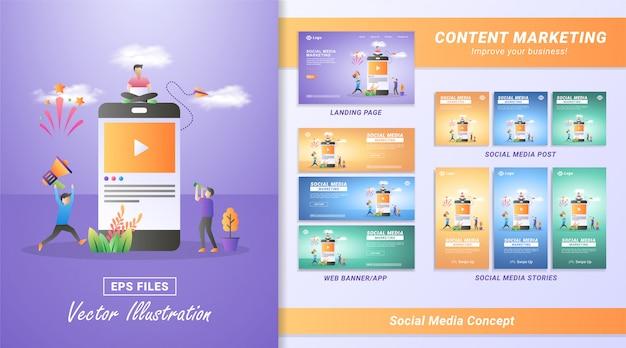 Concept de design plat de marketing des médias sociaux. marketing numérique, parrainez un ami sur les réseaux sociaux, partagez ou rédigez des commentaires.
