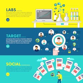 Concept de design plat marketing numérique