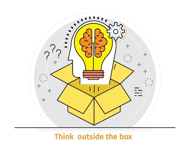 Concept de design plat mince ligne de pensée en dehors de la boîte