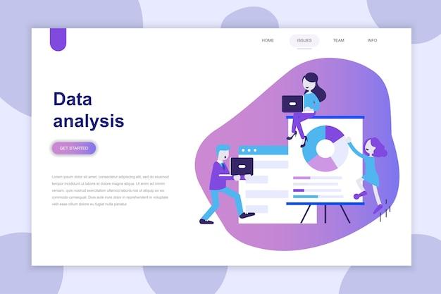 Concept de design plat moderne d'analyse de données pour site web