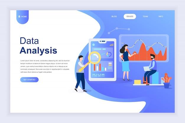 Concept de design plat moderne d'analyse de données volumineuses pour site web