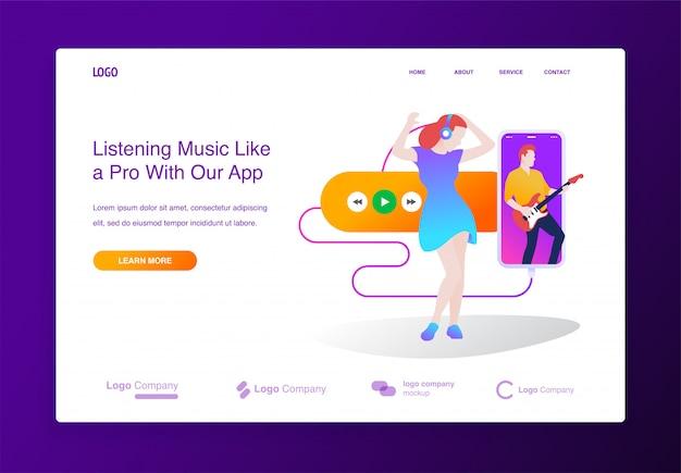 Concept de design plat moderne d'application de lecteur de musique en ligne pour site web, page de destination