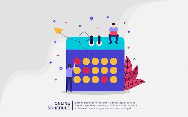 Concept de design plat moderne de calendrier en ligne. service de planification en ligne, gestion du temps, concept de planification avec caractères.