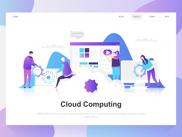 Concept de design plat moderne de cloud computing.