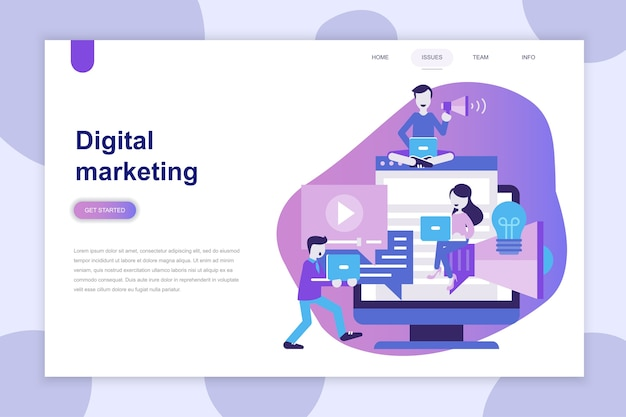 Concept de design plat moderne de digital marketing pour site web