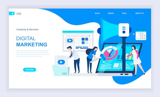 Concept de design plat moderne du marketing numérique