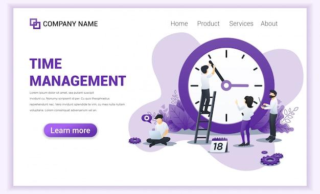 Concept de design plat moderne de gestion du temps avec des personnages planifiant un calendrier.
