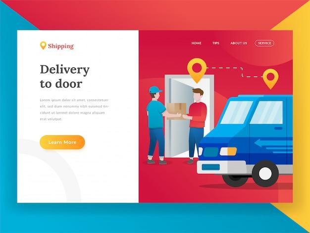 Concept de design plat moderne de livraison en ligne
