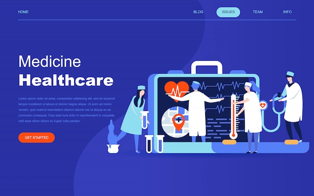 Concept de design plat moderne de la médecine en ligne