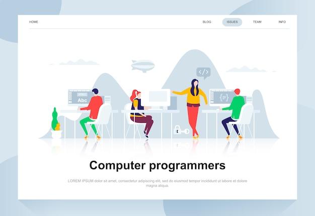 Concept de design plat moderne de programmeurs informatiques.