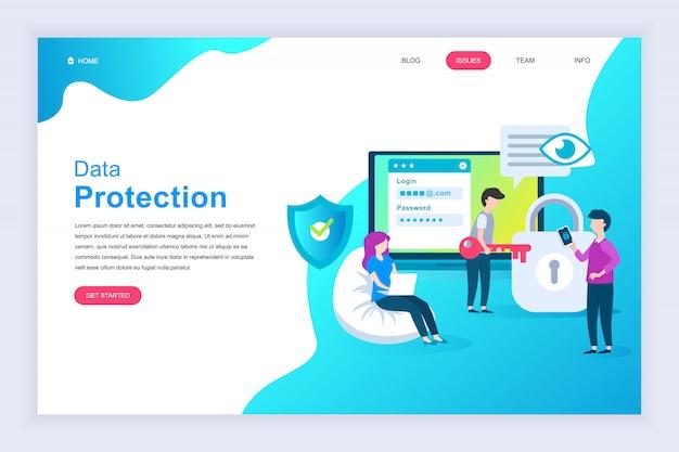Concept de design plat moderne de protection des données pour site web