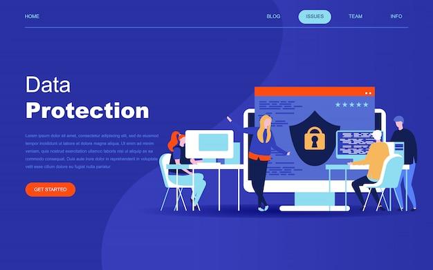 Concept de design plat moderne de la protection des données