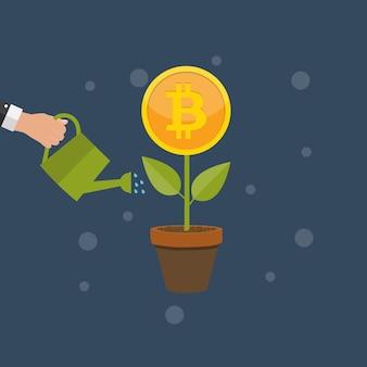 Concept de design plat et moderne de la technologie de crypto-monnaie bitcoin, exploitation minière, portefeuille électronique. eps10