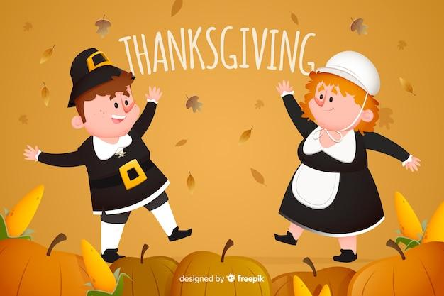 Concept de design plat pour le fond thanksgiving