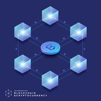 Concept de design plat technologie blockchain et crypto-monnaie