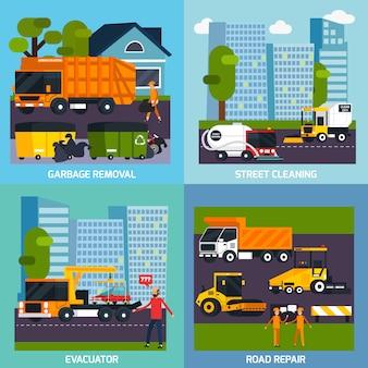 Concept de design plat de transport spécial